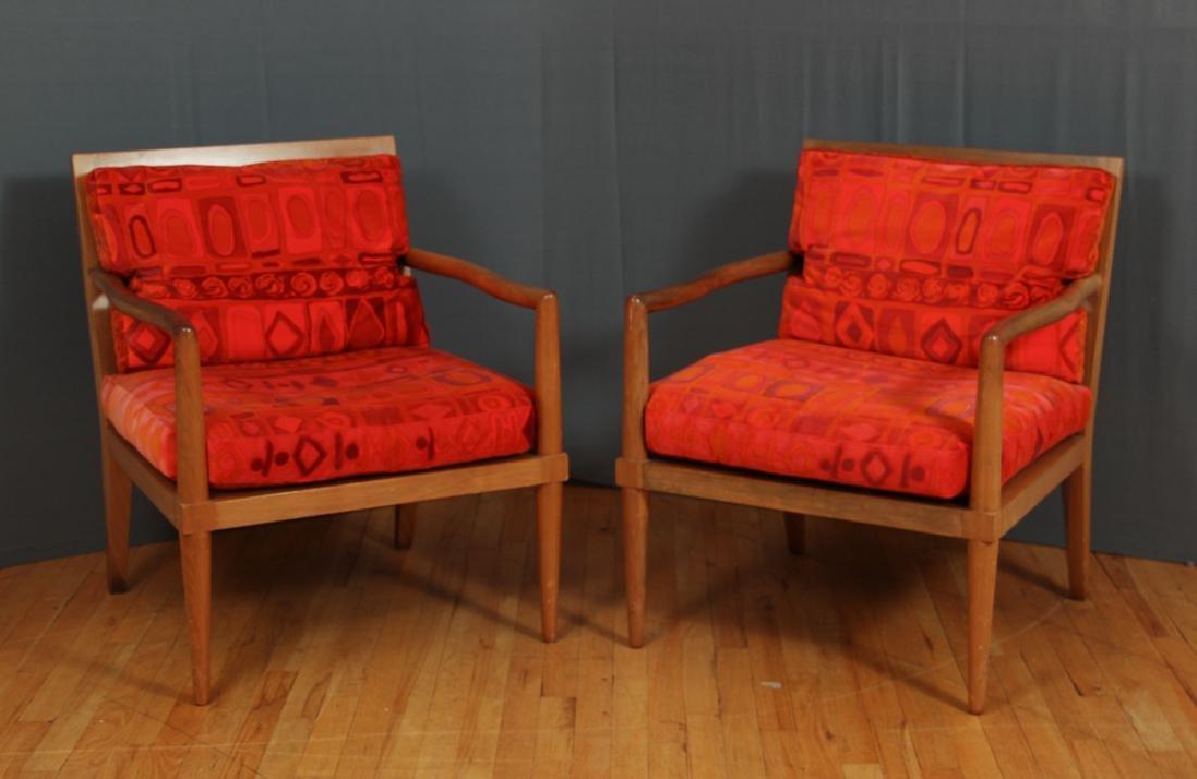 Pair Mid Century Modern Chairs with Finn Juhl Style Arm