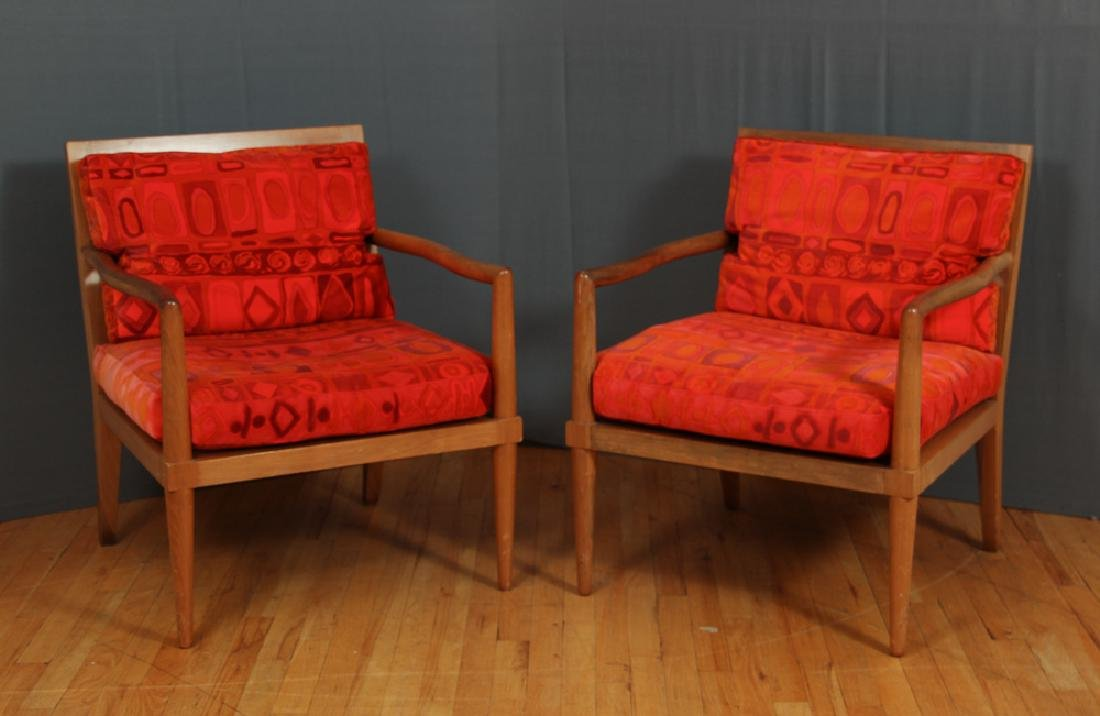 Pair Mid Century Modern Chairs with Finn Juhl Style Arm