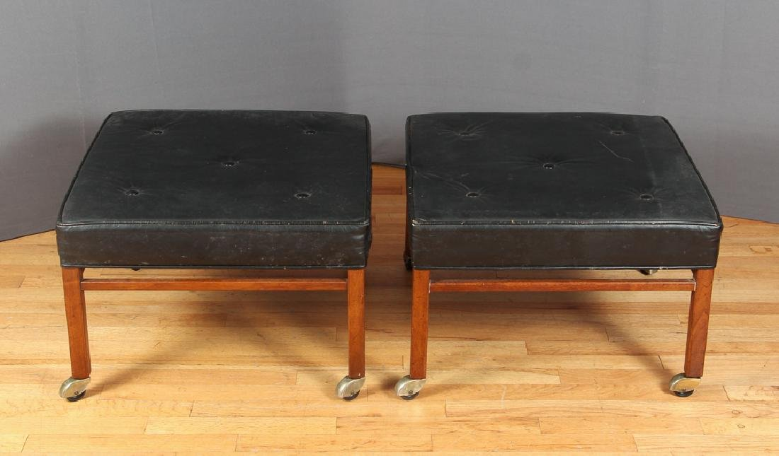 Two Baker Milling Road Leather Ottomans
