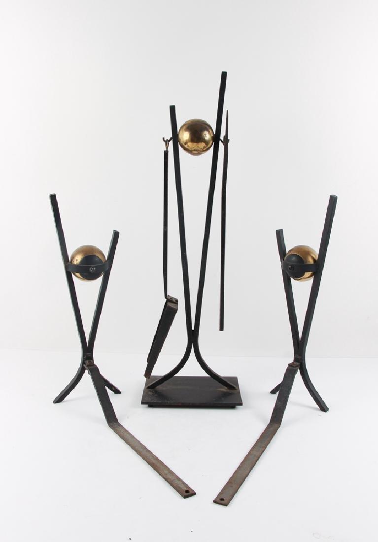 Donald Deskey Andirons and Fireplace Tools