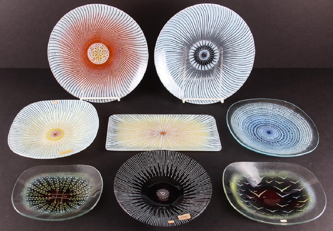 Eight Maurice Heaton Mid Century Glass Plates
