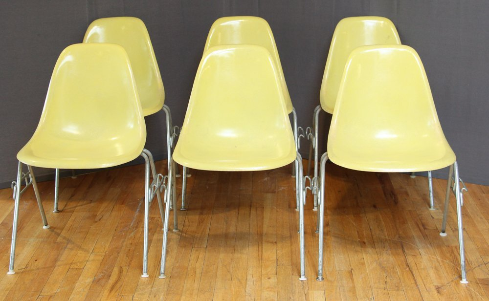Six Herman Miller Mid Century Eames Shell Chairs
