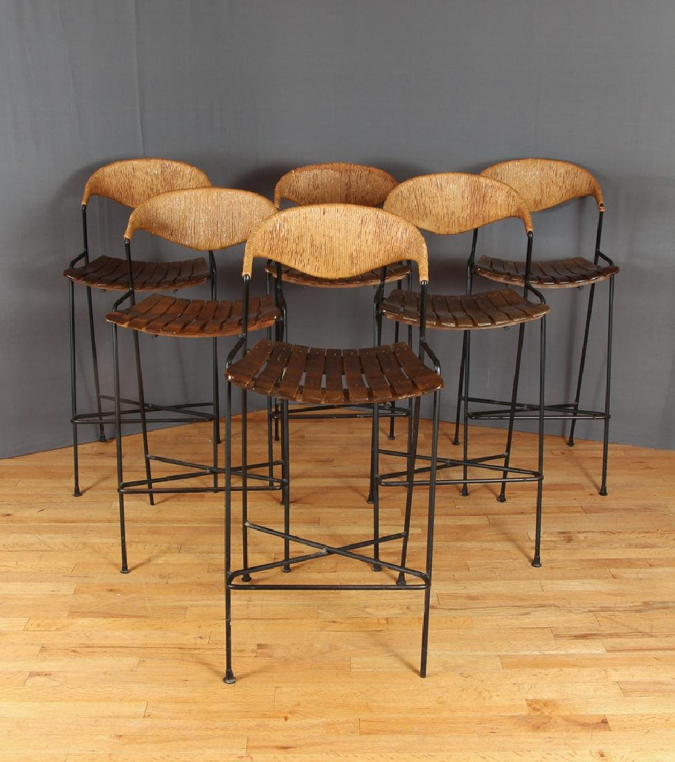 Set of Six Arthur Umanoff Bar Stools