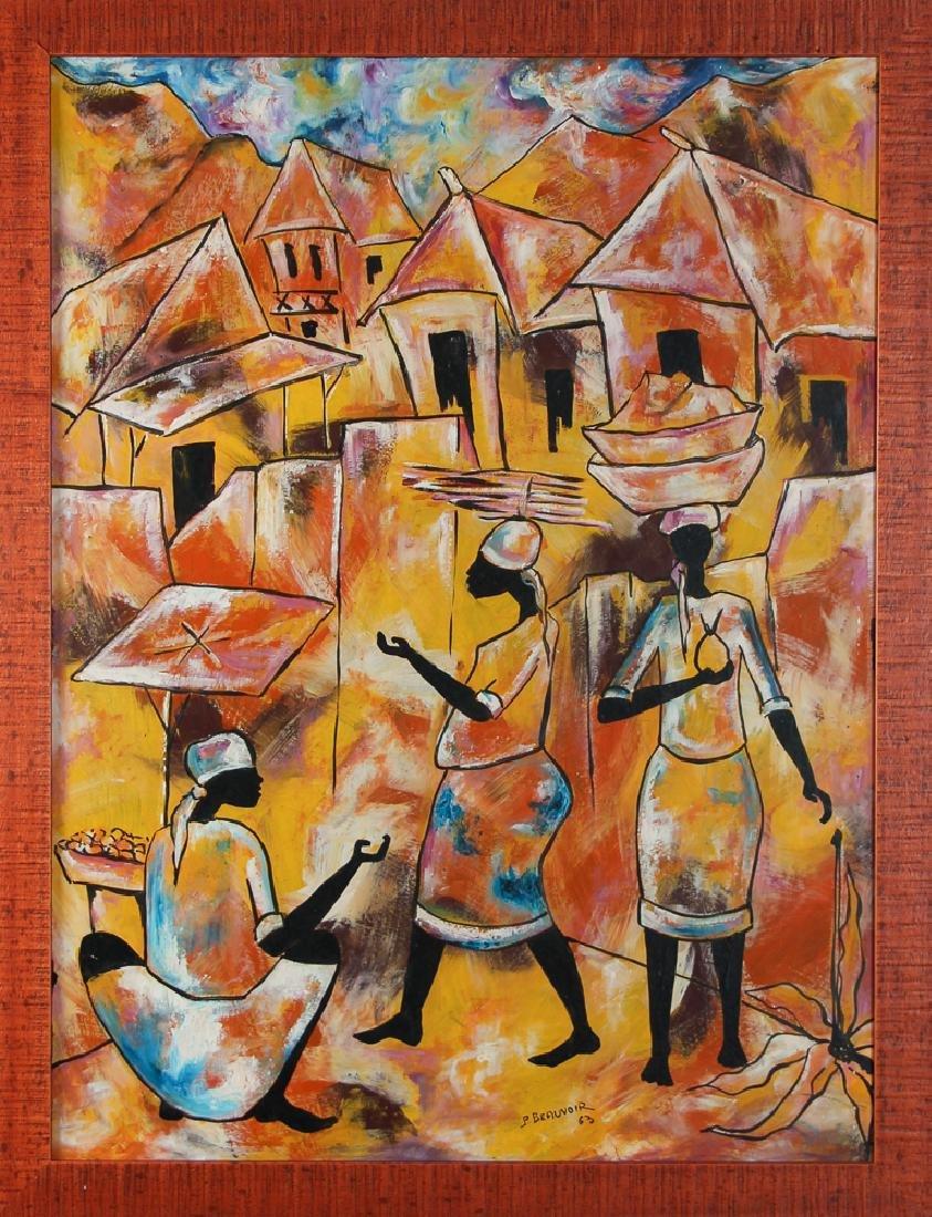 Paul Beauvoir Haitian Market Scene painting