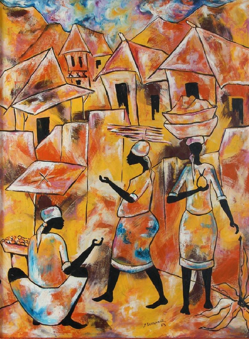 Paul Beauvoir Haitian Market Scene painting - 2