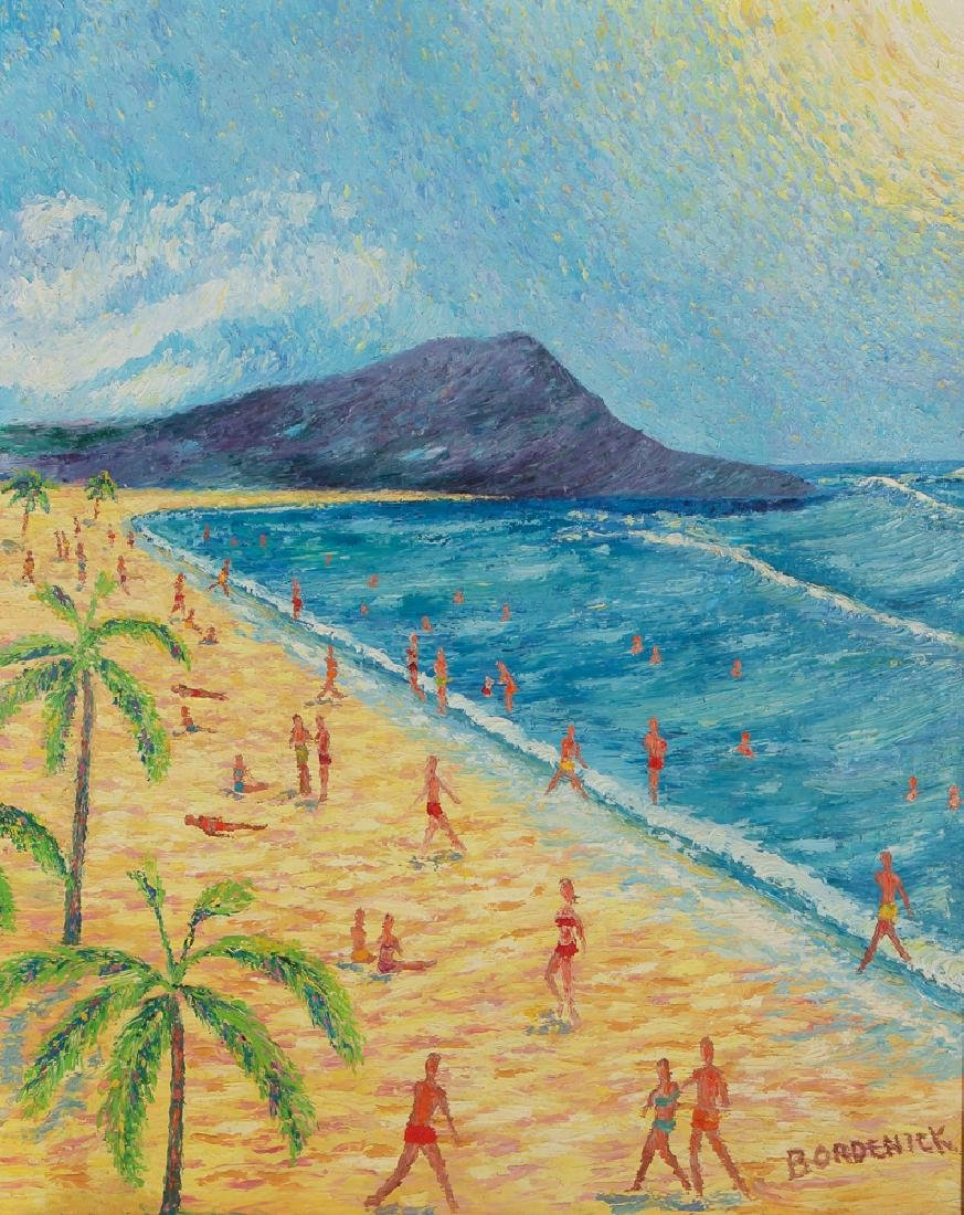 Folk Art Painting of Diamond Head Waikiki Hawaii