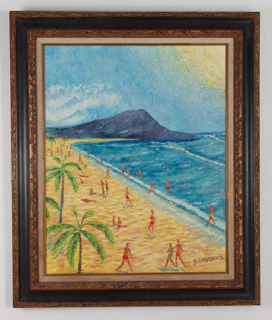 Folk Art Painting of Diamond Head Waikiki Hawaii - 2