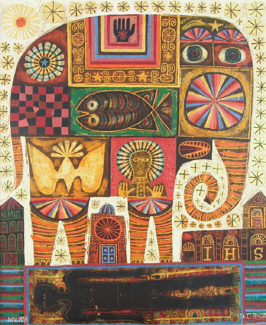 Rex Clawson Elephant Folk Art Painting