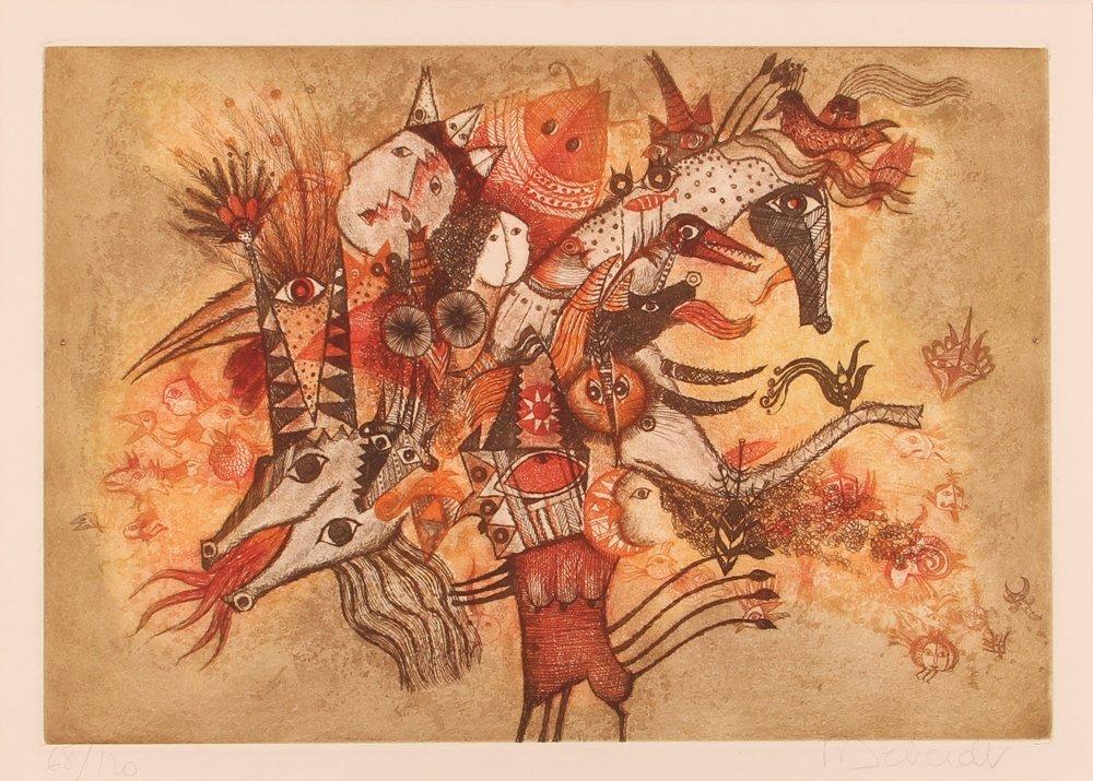 Francois Deberdt color etching Fantastic Figures