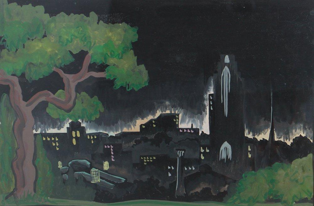 M S Gordon Oakland Pittsburgh Nocturne Gouache