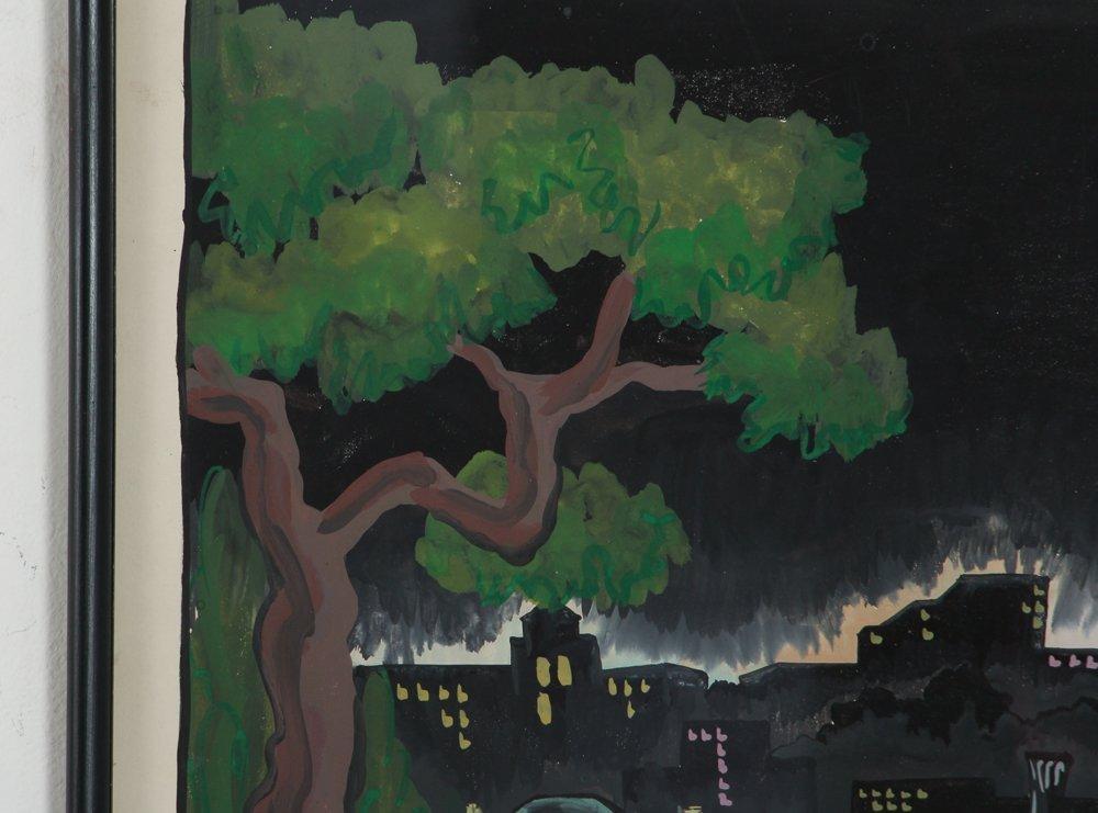 M S Gordon Oakland Pittsburgh Nocturne Gouache - 3