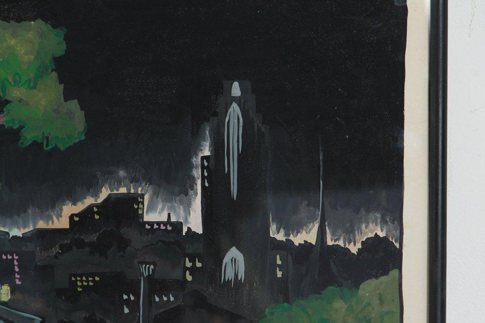 M S Gordon Oakland Pittsburgh Nocturne Gouache - 4