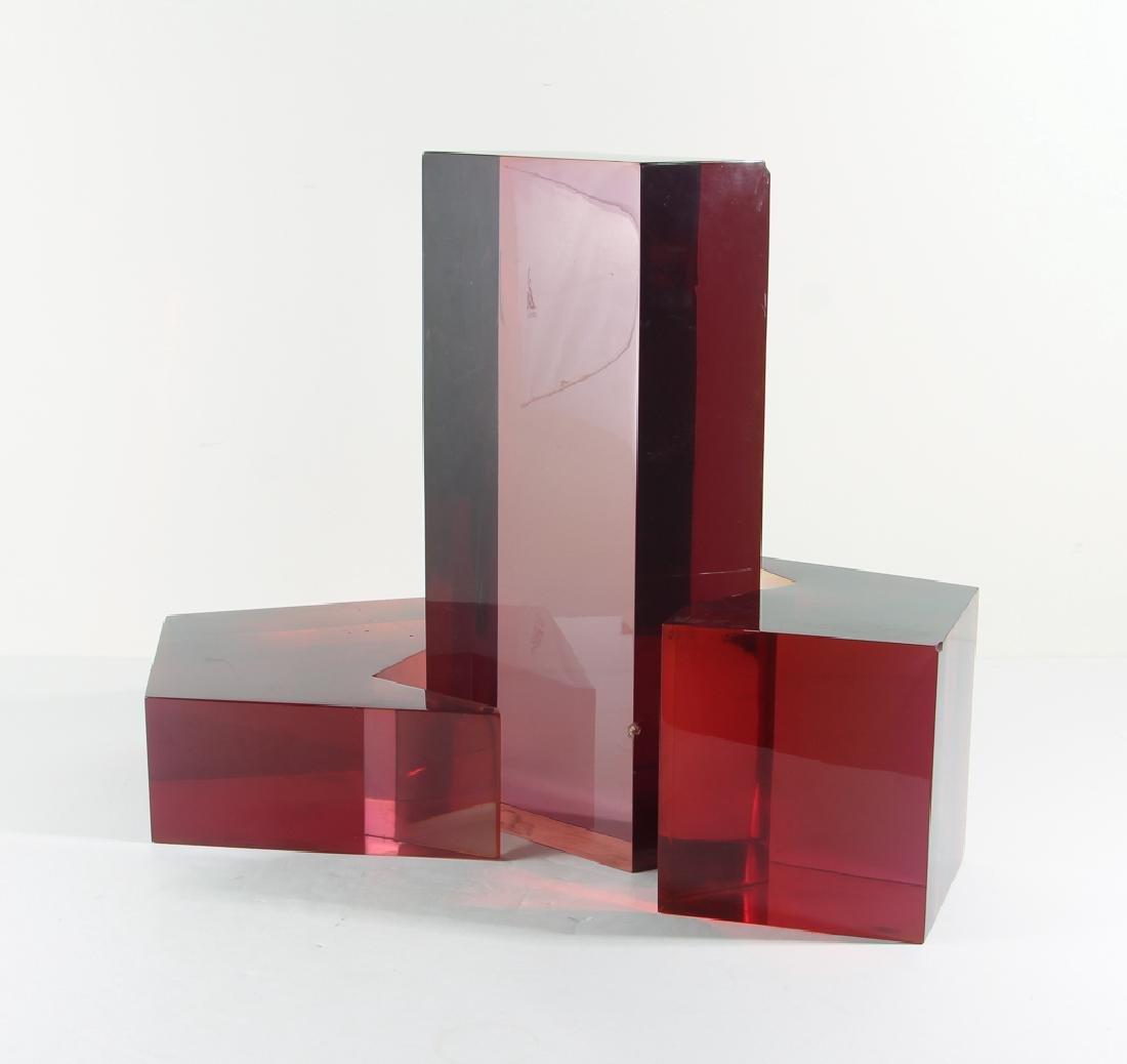 Aaronel DeRoy Gruber Lucite Three Piece Sculpture