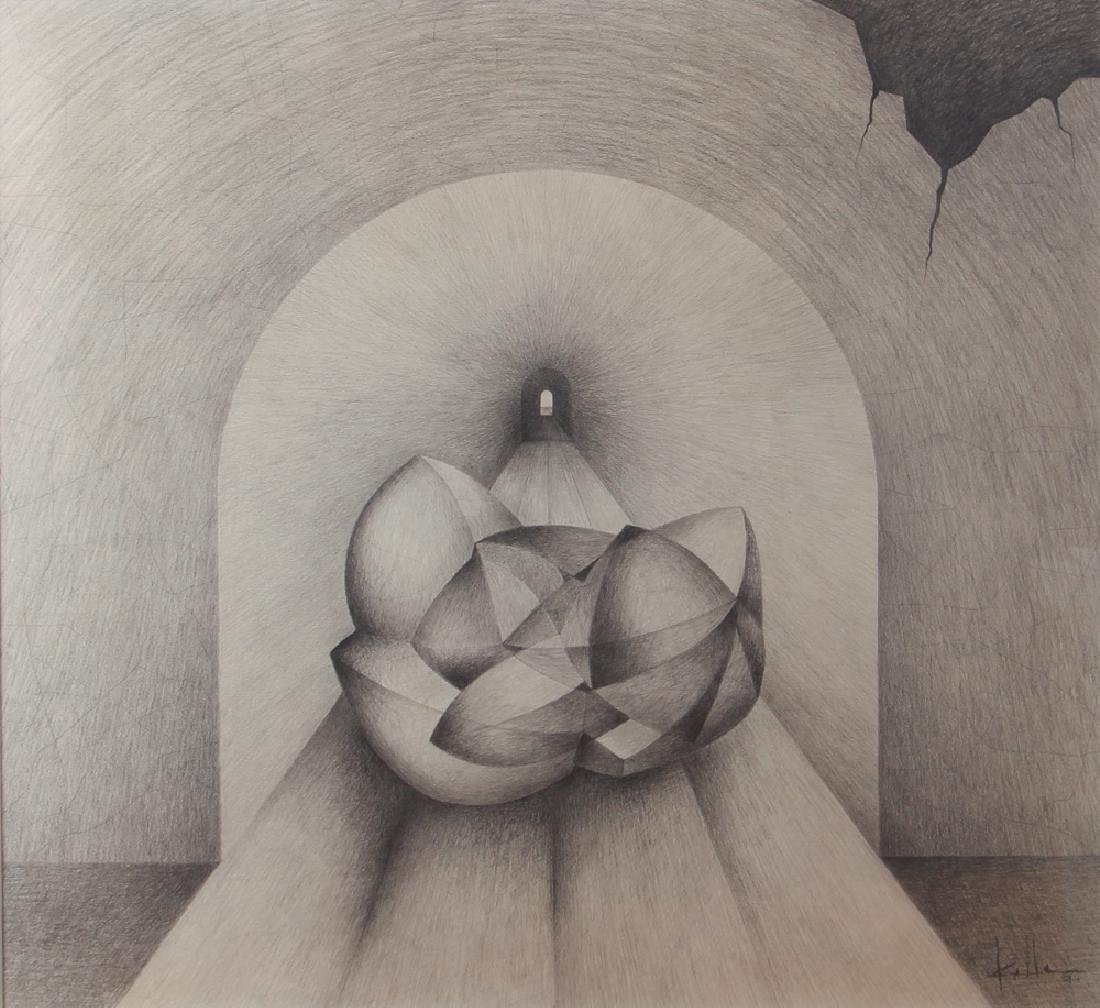 Erwin Kalla Abstract Form in Tunnel Drawing