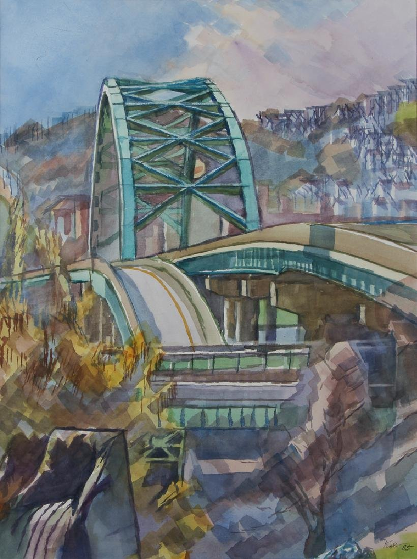 Henry Koerner 1985 watercolor Birmingham Bridge