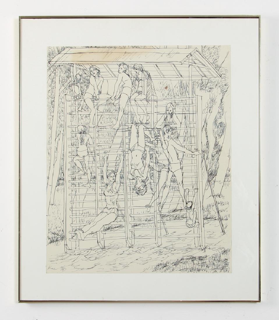 Henry Koerner Acrobats Drawing - 2