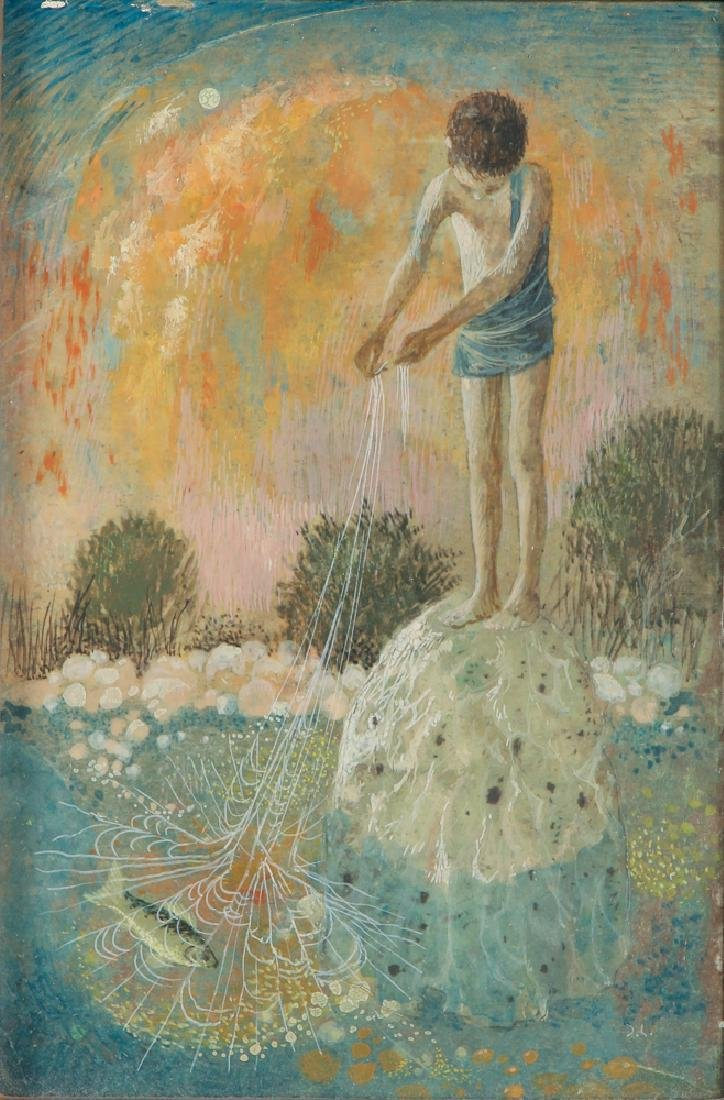 Don W. Lord surrealist ptg. Boy with Fishing Net