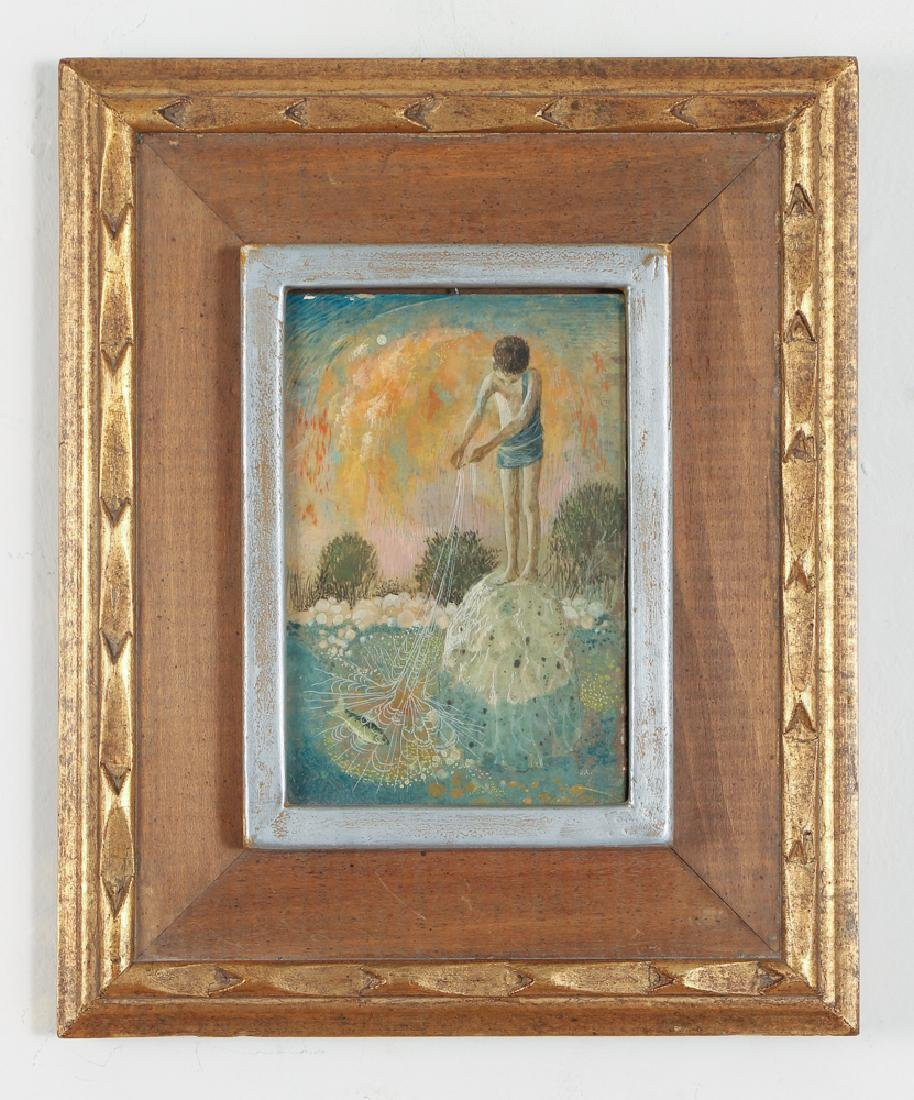 Don W. Lord surrealist ptg. Boy with Fishing Net - 2