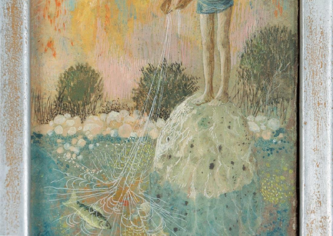 Don W. Lord surrealist ptg. Boy with Fishing Net - 4