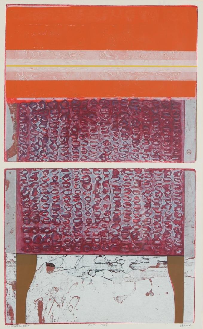 George Nama mixed media 1969 print Landscape