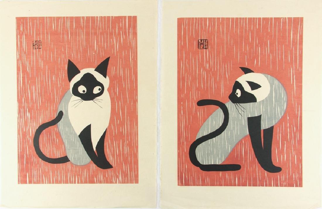 2 Kiyoshi Saito Siamese Cats woodblock prints