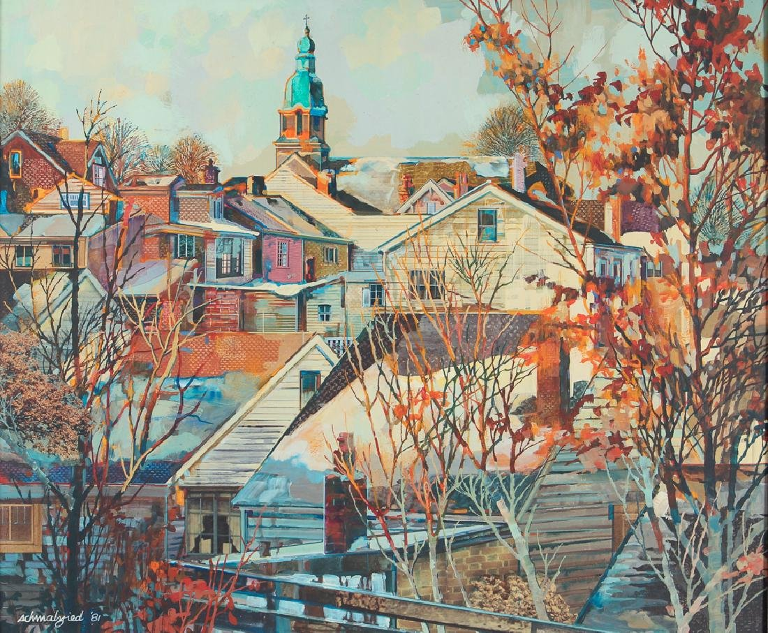 Robert Schmalzreid Southside Pittsburgh Oil Painting