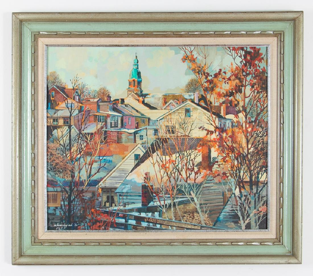 Robert Schmalzreid Southside Pittsburgh Oil Painting - 2