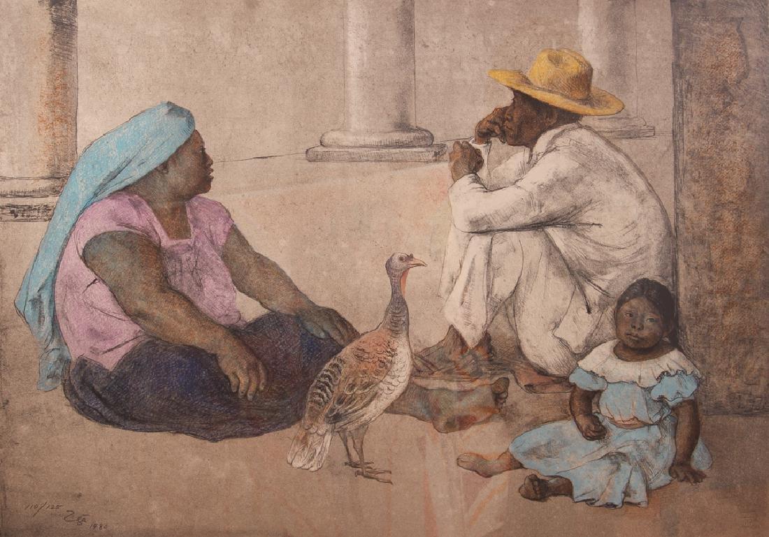 Francisco Zuniga orig litho Familia Indigena II, 1980