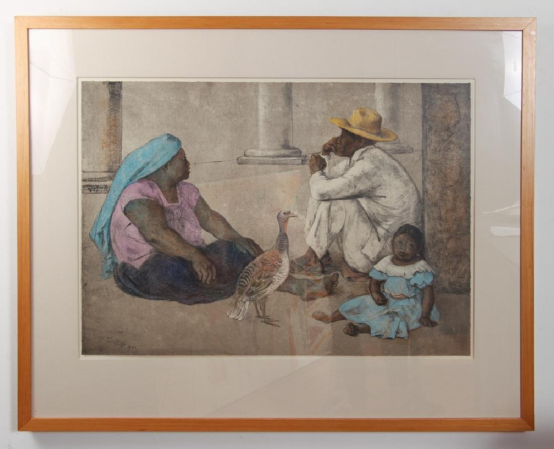 Francisco Zuniga orig litho Familia Indigena II, 1980 - 2