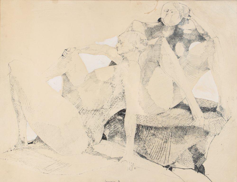 Leonardo Cremonini 1956 drawing Reclining Figures