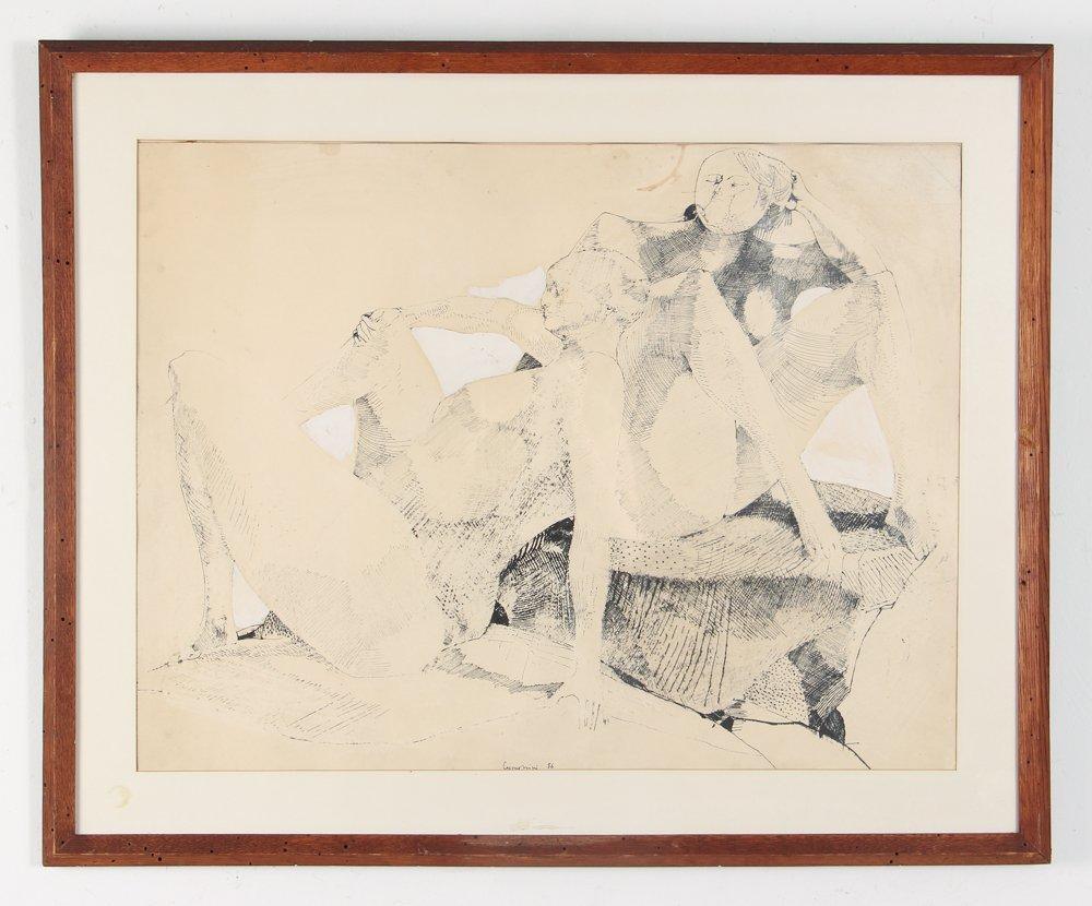 Leonardo Cremonini 1956 drawing Reclining Figures - 2