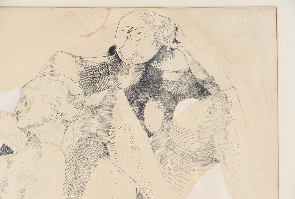 Leonardo Cremonini 1956 drawing Reclining Figures - 4