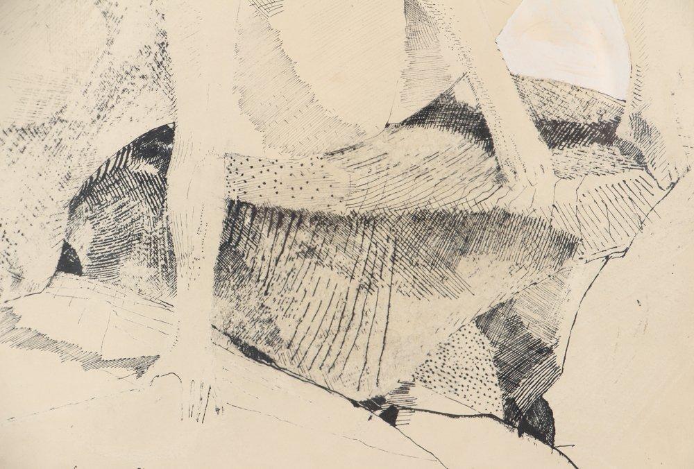 Leonardo Cremonini 1956 drawing Reclining Figures - 5