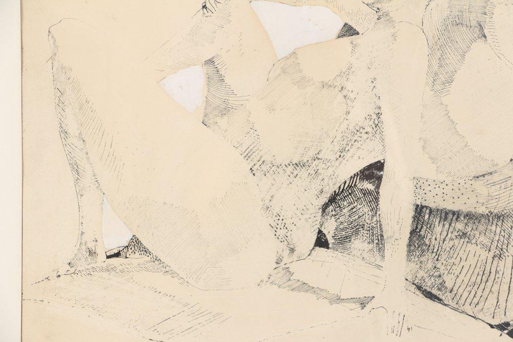 Leonardo Cremonini 1956 drawing Reclining Figures - 6