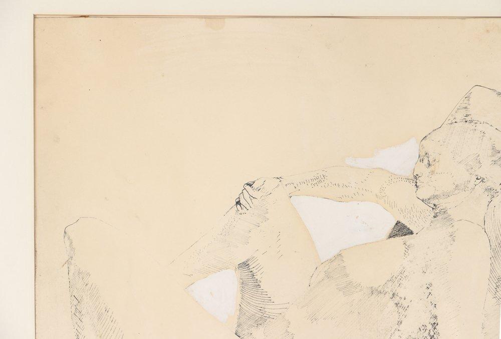 Leonardo Cremonini 1956 drawing Reclining Figures - 7