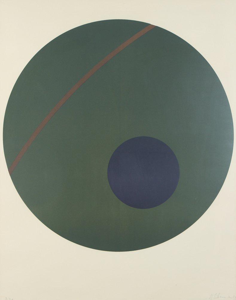 Alexander Liberman Green Circle on Blue Lithograph