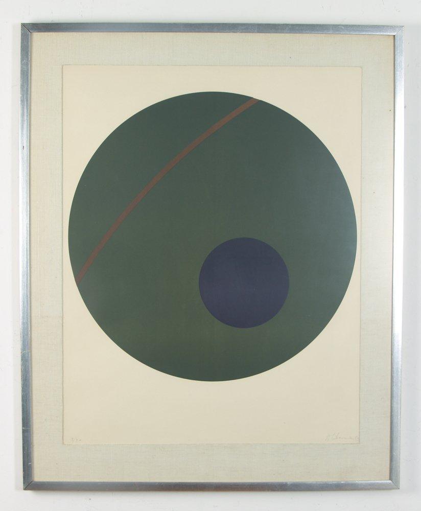 Alexander Liberman Green Circle on Blue Lithograph - 2