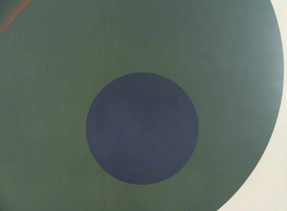 Alexander Liberman Green Circle on Blue Lithograph - 5