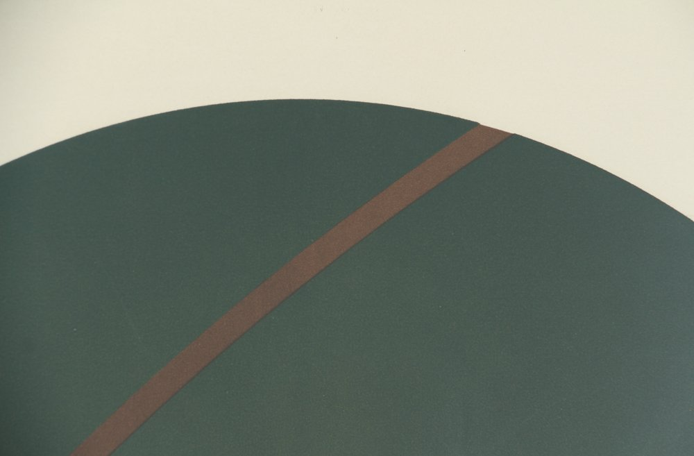 Alexander Liberman Green Circle on Blue Lithograph - 6