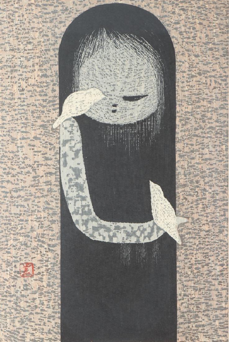 Kaoru Kawano color woodcut Girl with Birds