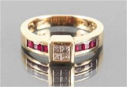Bita Diamond Ruby and 14 K Gold Ring