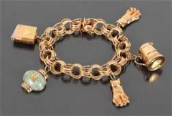 14 K Gold Link Charm Bracelet