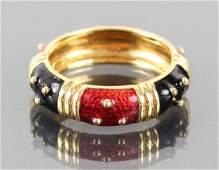 18 K Gold and Enamel Hidalgo Style Ring