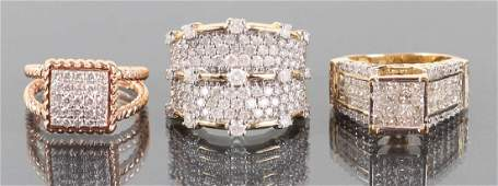 Three 14 K Gold and Diamond Rings