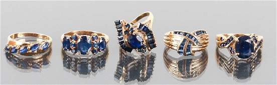 Five 14 K Gold and Sapphire Rings