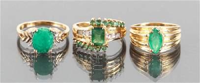 Three 14 K Gold and Emerald Diamond Rings