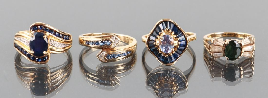 Four 14 K Gold and Sapphire Rings