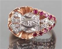 Art DecoModerne 14K Gold Diamond Ruby Ring