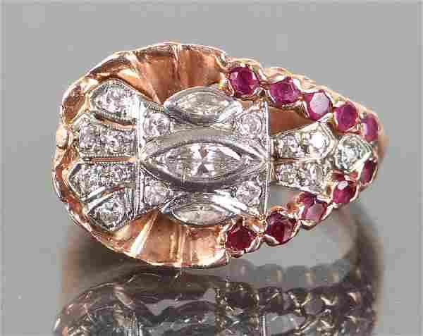 Art Deco/Moderne 14K Gold Diamond Ruby Ring