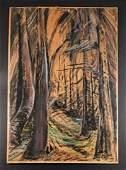 Emily Carr Cedar Forest Interior Gouache